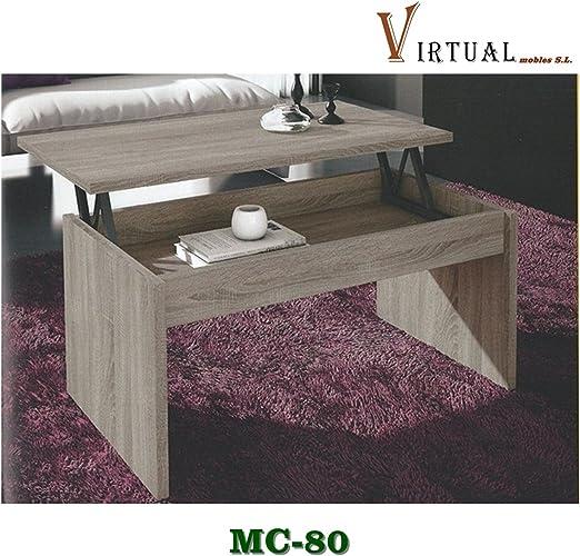 VIRTUALMOBLES Mesa DE Centro ELEVABLE MC-80 EN Color Blanco O ...