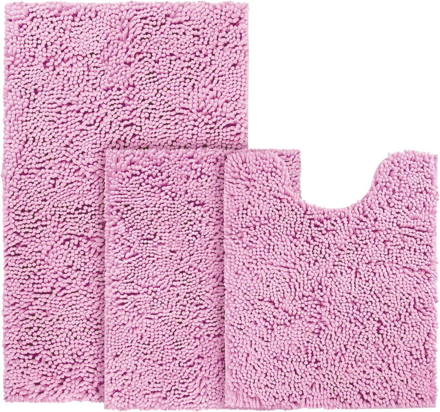 Amazon Com Bysure Pink Bathroom Rugs Set 3 Piece Non Slip Extra Absorbent Shaggy Chenille Bathroom Rugs And Mats Sets Soft Dry Bath Rug Mat Sets For Bathroom Washable Carpets Set Kitchen