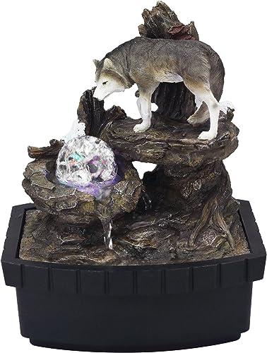 OK Lighting 10.25 H Wolf Table Fountain