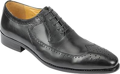 Azul Negro Genuino de Cuero Real de los Hombres clásicos XPOSED de Encaje hasta los Zapatos del Estilo de la Vendimia Brogue