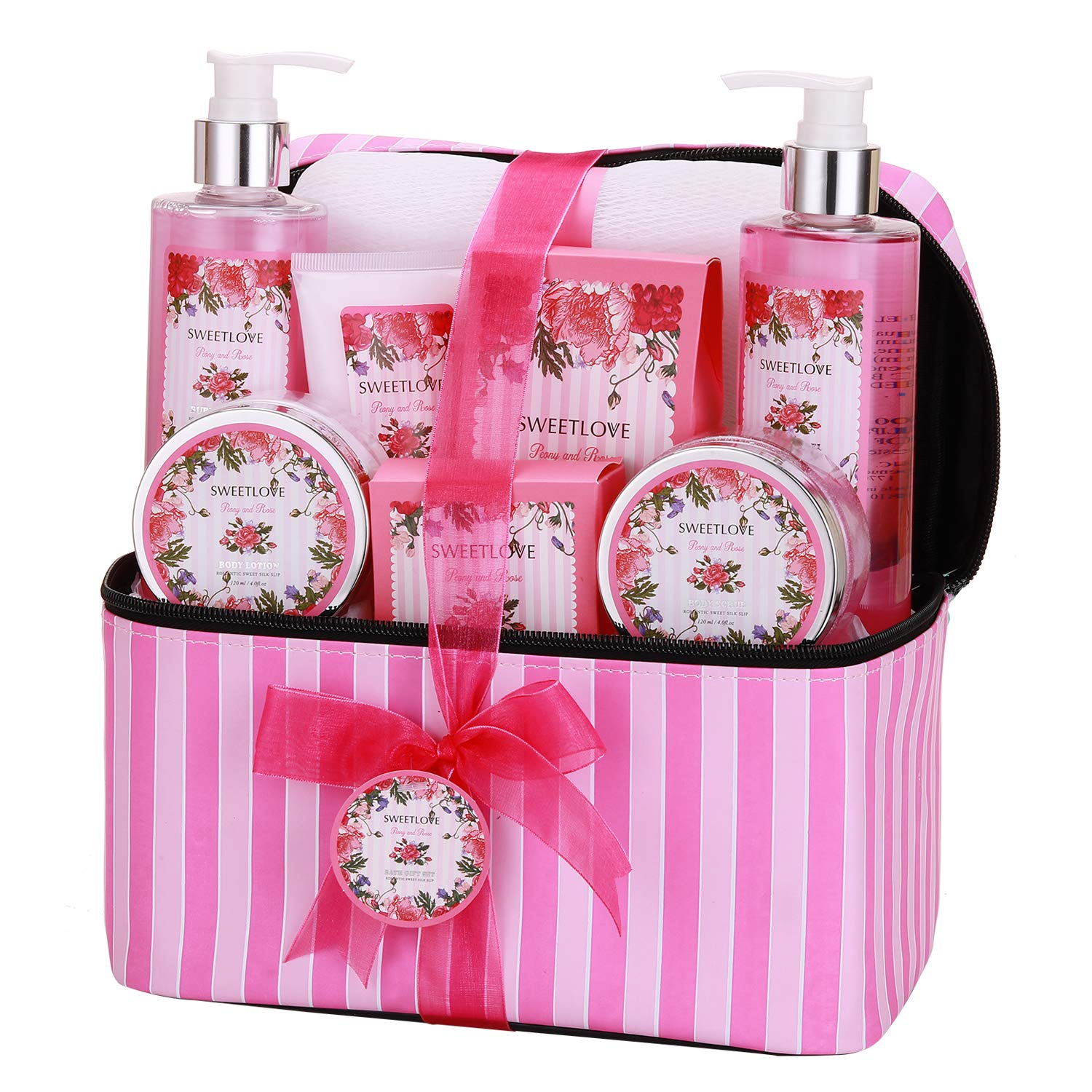 Home Spa Gift Set with Cosmetic Bag, SWEETLOVE Gift Basket 9-Piece, Rose& Peony Scent,Best gifts for Women, Chrismas,Mother's Day.