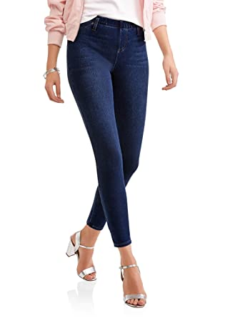 Faded Glory Women's Full Length Stretch Knit Jegging (Small, Dark Denim)