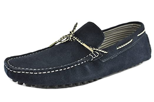 Navy Men Nubuck Leather Moccasin Slip on Tie Front Loafers Causal Mens Shoes Driving Shoes