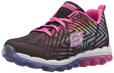 Skechers Kids Girls' Skech-Air-Jumparound Running Shoe, Black/Multi Knit, 11 M US Little Kid