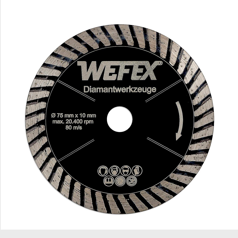 wefex/ /76/V-ec /Disco diamantato turbo Black Star 75/mm x 10/mm Gres Porcellanato Piastrelle Granito piastrelle in ceramica pietra naturale adatto per Bosch GWS 10,8/