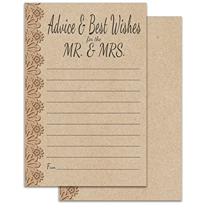 50 pack 4x6 rustic wedding advice cards kraft lace large thick easy write card