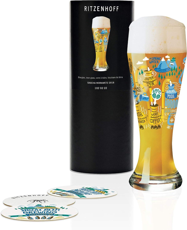 RITZENHOFF Weizen Copa de cerveza, 0.5 litros, cristal, Blanco, oro, azul, verde