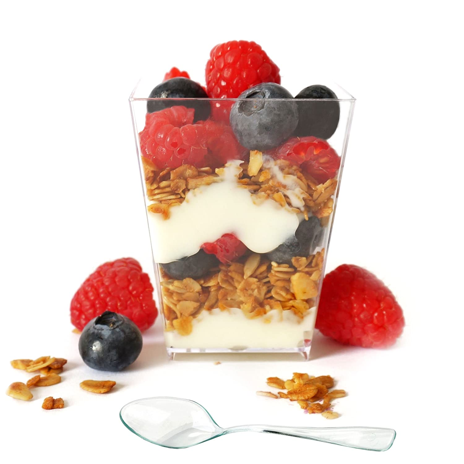 Professional Grade 5 oz Clear Plastic Dessert Cups (50-Pack) with Mini Spoons by Market Lane