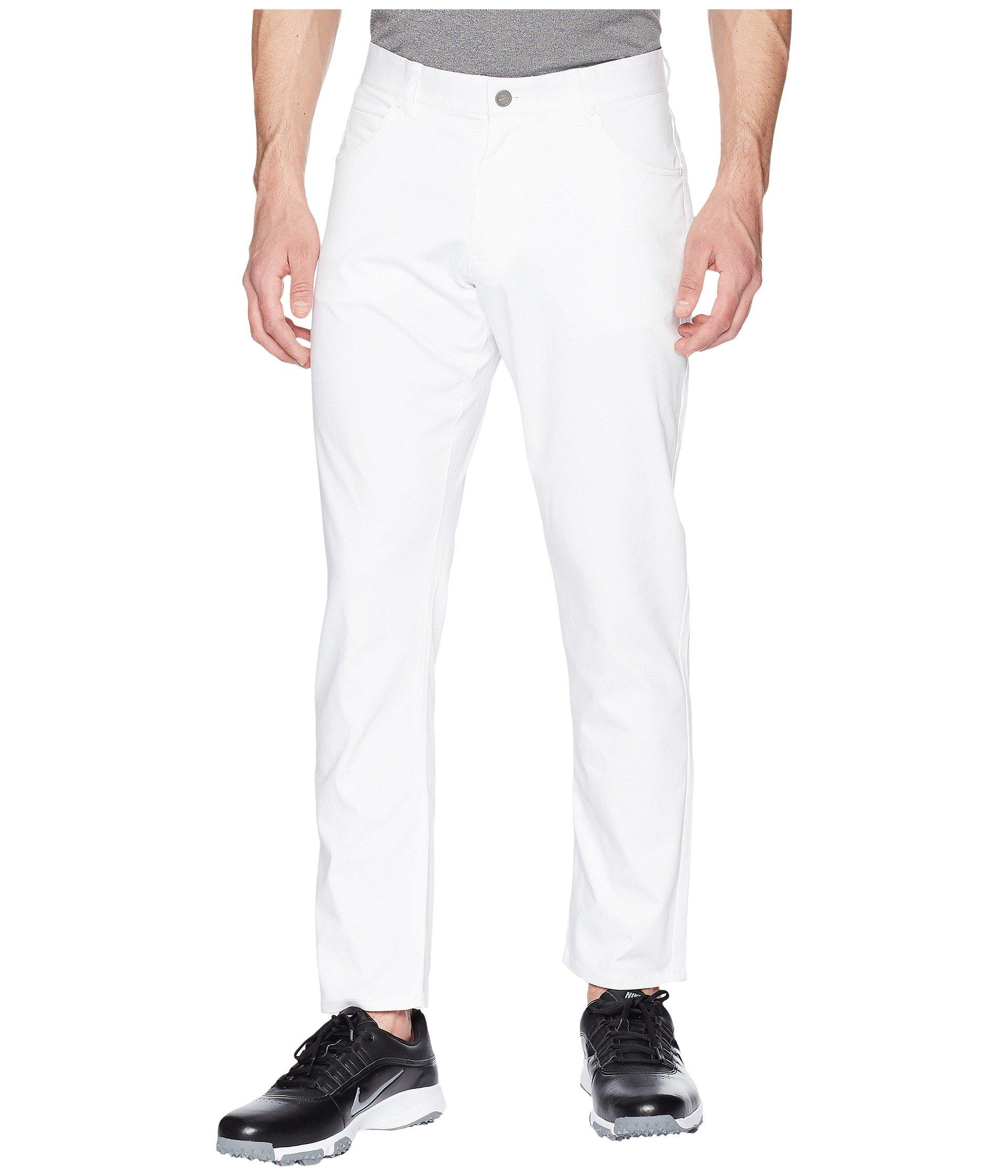 NIKE Men's Flex Slim 5-Pocket Golf Pants, White/White, Size 31/32 by Nike