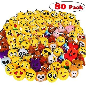 80 Piezas Mini Emoji Felpa Llavero Emoji Fiesta de cumpleaños, decoración, decoración de la Pared y Favor de Fiesta (80pcs)