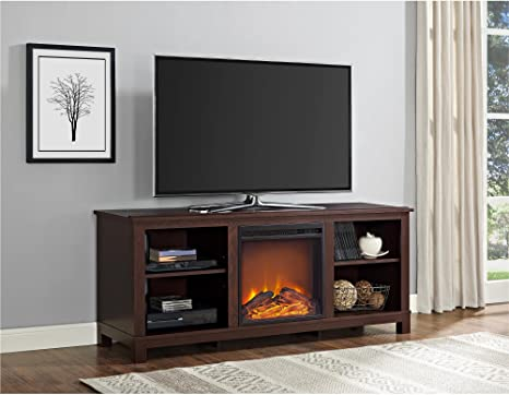 Ivory Pine Ameriwood Home Edgewood Fireplace TV Stand for TVs up to 55