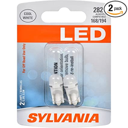 Amazon.com: SYLVANIA 2825 T10 W5W White LED Bulb, (Contains 2 Bulbs): Automotive