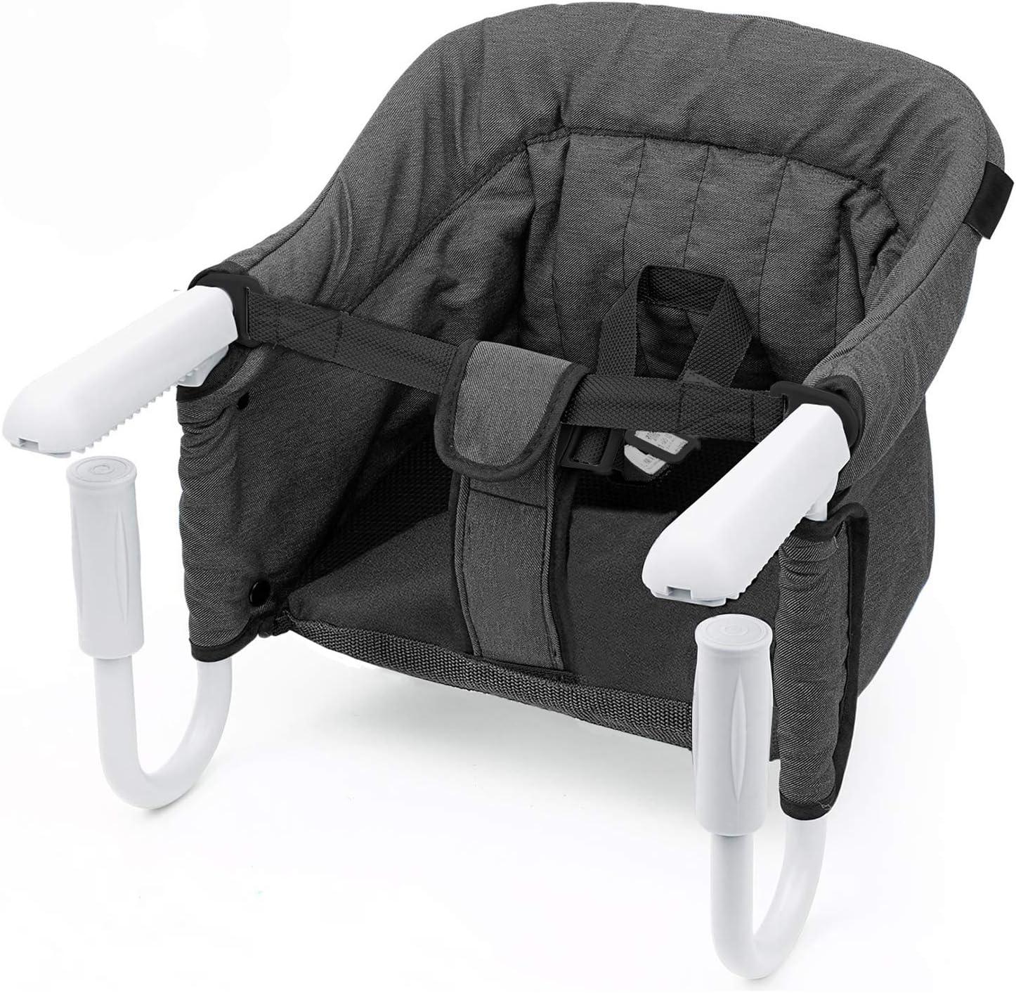 Mesa Asiento de mesa para bebé – plegable Trona de Viaje Arnés de 5 puntos, Sillita para bebé ajustable a la mesa …