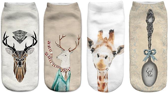 Socluer Pack de 4 calcetines niñas 8cm x 19cm calcetines lindos gato calcetines de flamenco unicornio