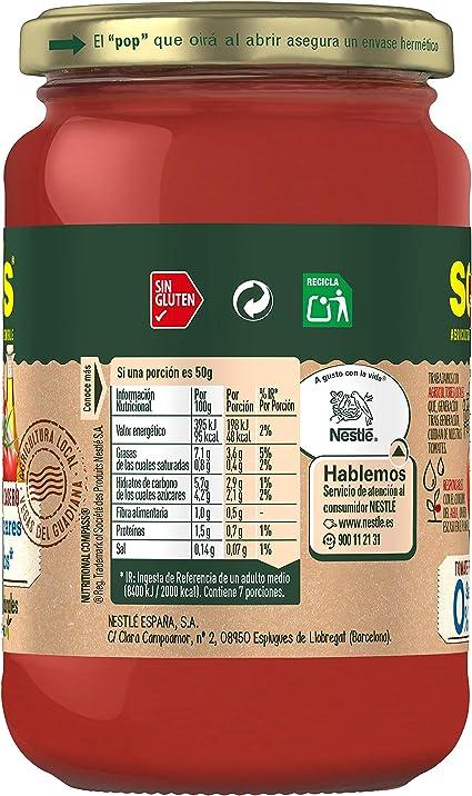 SOLIS Tomate Frito Estilo Casero 0% Sal y Azúcares Añadidos Frasco Cristal - Pack de 6 x 350 g - Tomate sin gluten