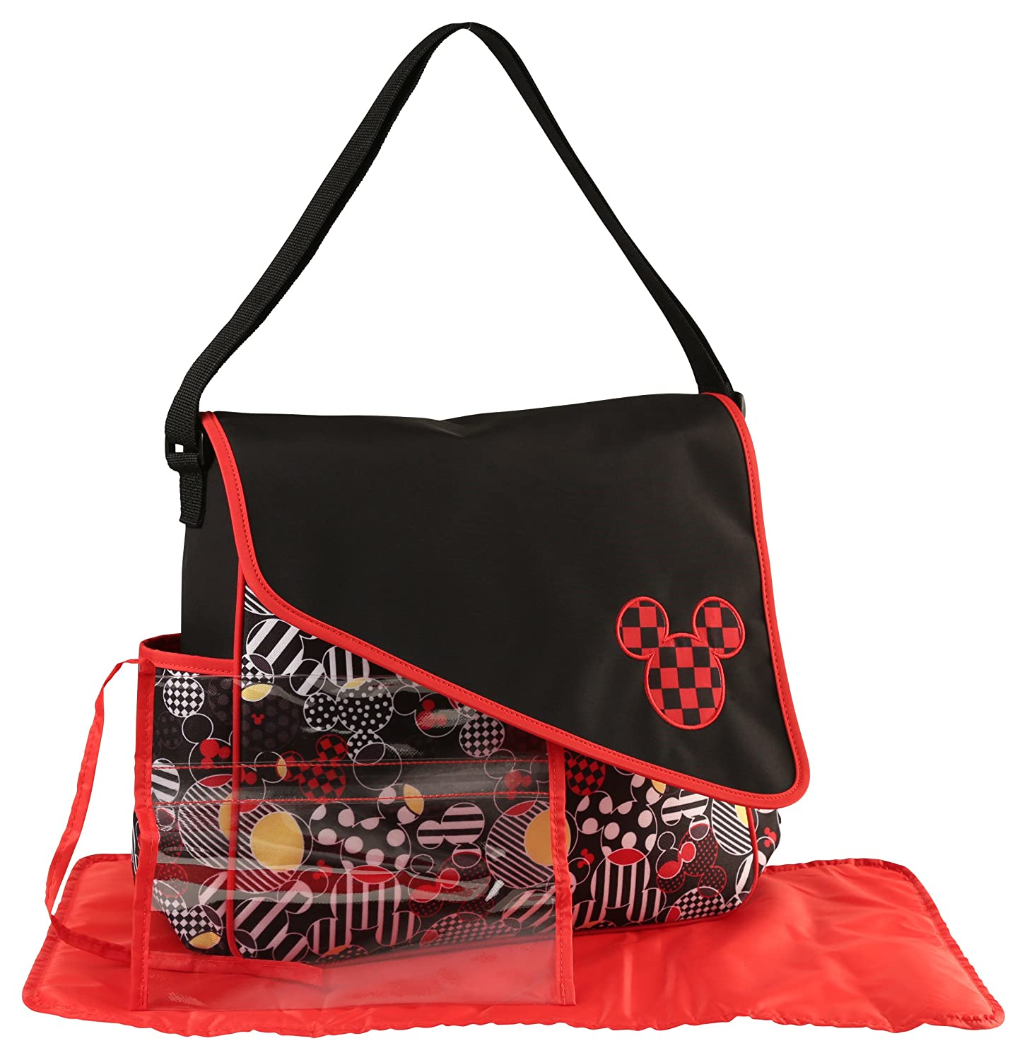 Disney Mickey Mouse Diaper Bag with Asymetrical Flap, Toss Heads Print