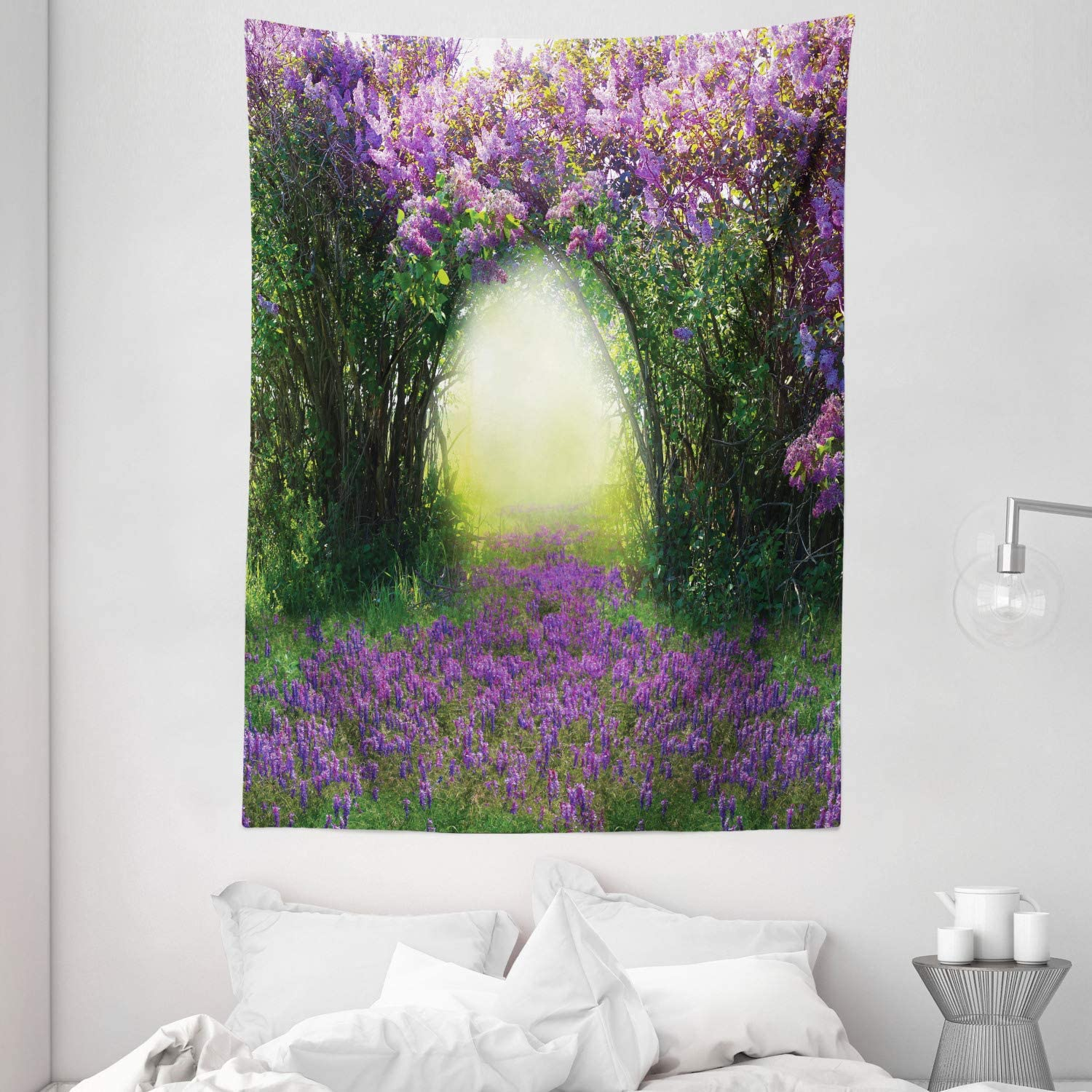 Ambesonne Garden Tapestry, Magic Misty Forest View Spring Blossoms Bushes Greenery Grasses Sun Rays, Wall Hanging for Bedroom Living Room Dorm, 60