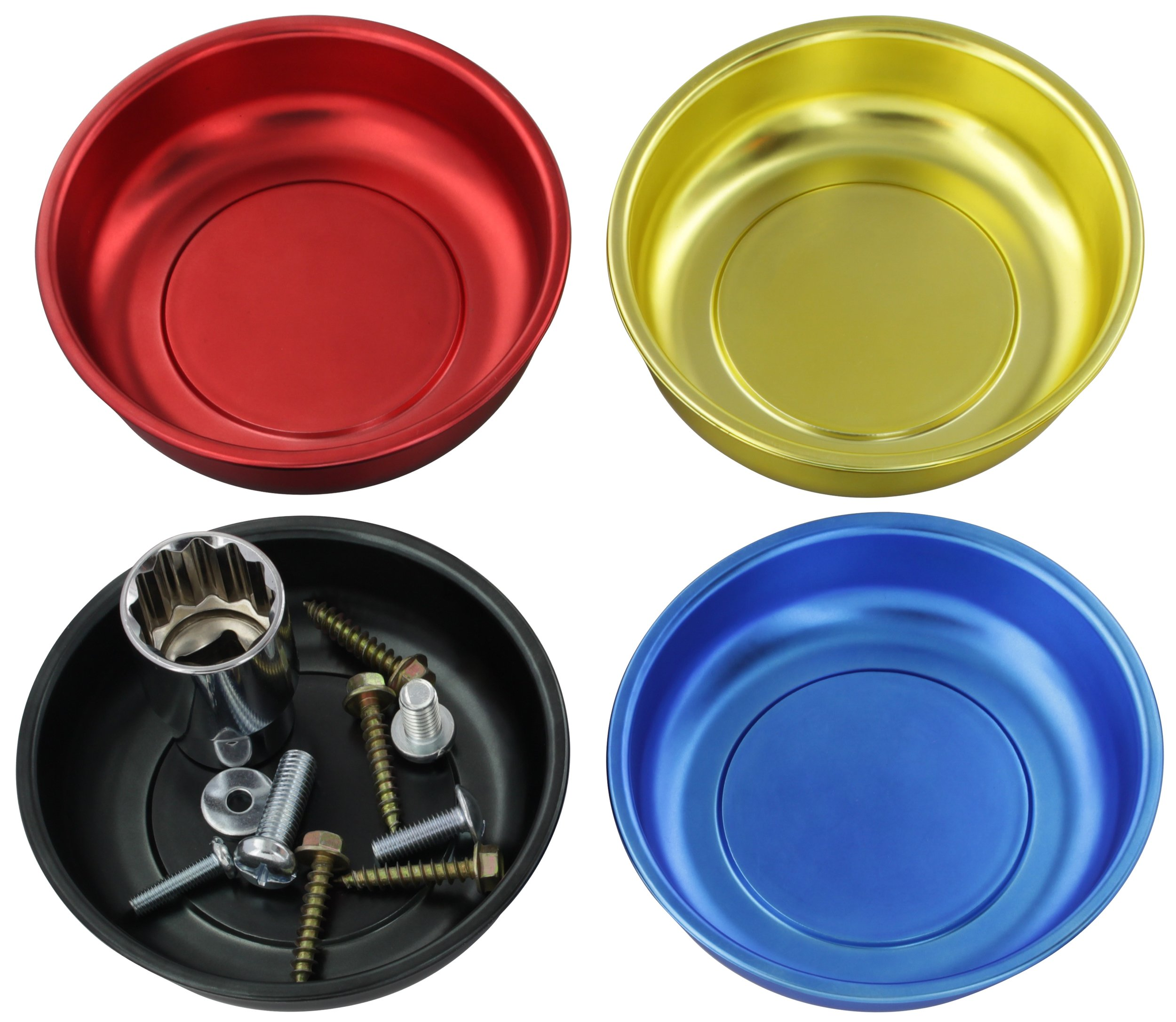 """Drixet 4"""" Mini Magnetic Parts Tray, Nut and Bolt Round Bowl Set 