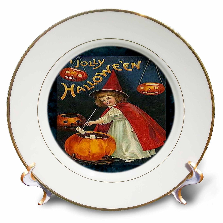 8-Inch 3dRose cp/_6203/_1 Vintage Halloween Girl and Jack O Lantern Porcelain Plate