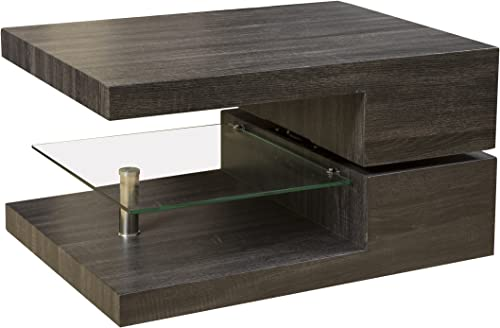 Christopher Knight Home 295921 Bushwick Rectangular Rotating Wood Coffee Table, Grey Black