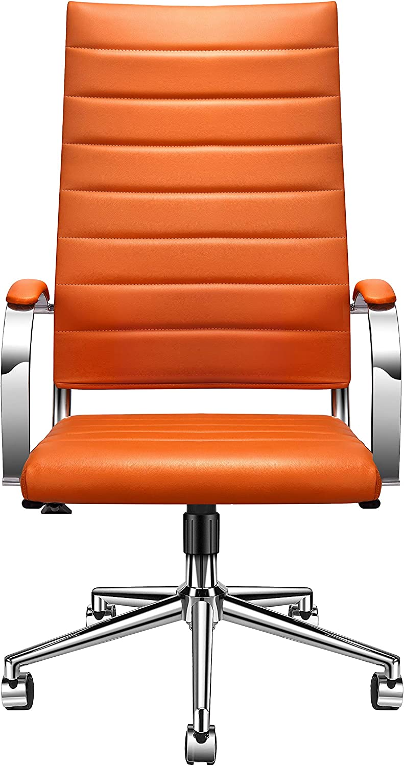 LUXMOD High Back Office Chair with Armrest, Orange Adjustable Swivel Chair in Durable Vegan Leather, Ergonomic Desk Chair for Extra Back & Lumbar Support –Orange, Janus Collection