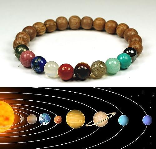 Pulsera sistema solar para mujer, piedras naturales y ...
