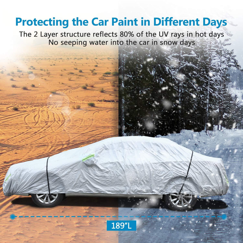 Sailnovo B/âche Auto Housse de Protection Voiture Couverture Voiture avec Bandes fluorescentes 530 * 200 * 150cm