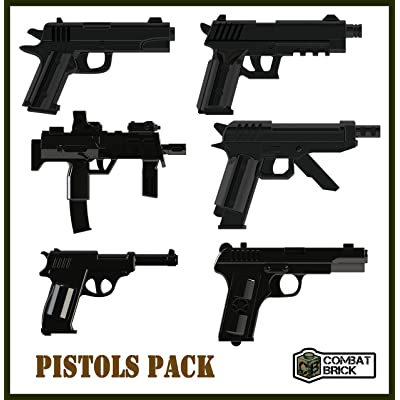 "Custom Pistol Pack Miniature Scale 1"" Brick Army Builder Accessories Designed for Lego Minifigure: Toys & Games"