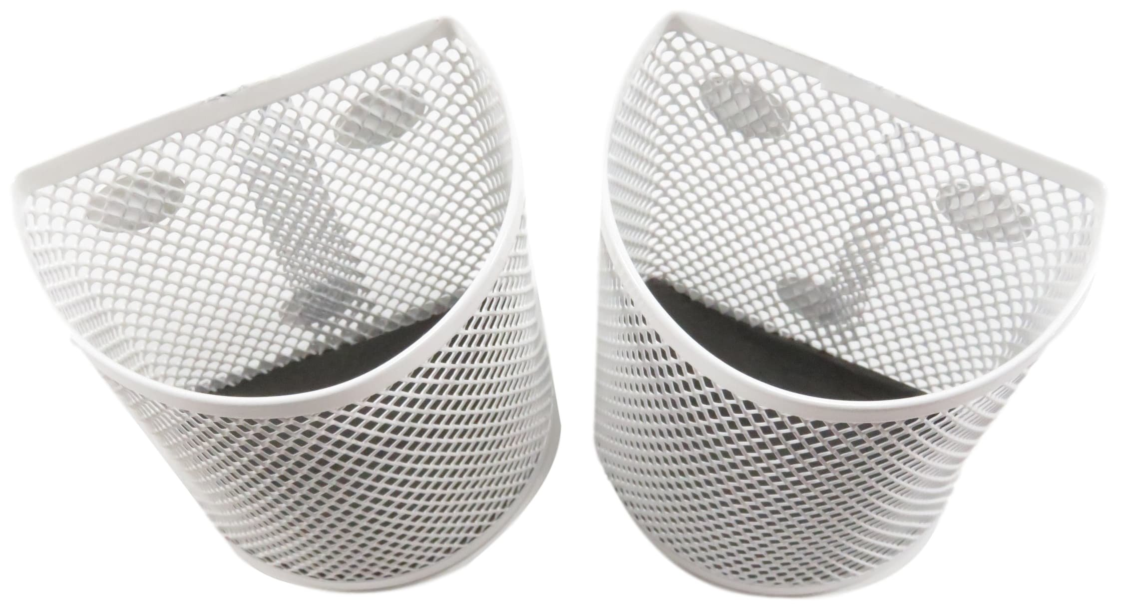 Half Moon Mesh Wire Pen Pencil Holder Magnetic 3.7 x 2.8 White (Set of 2) by Daiso (Image #3)