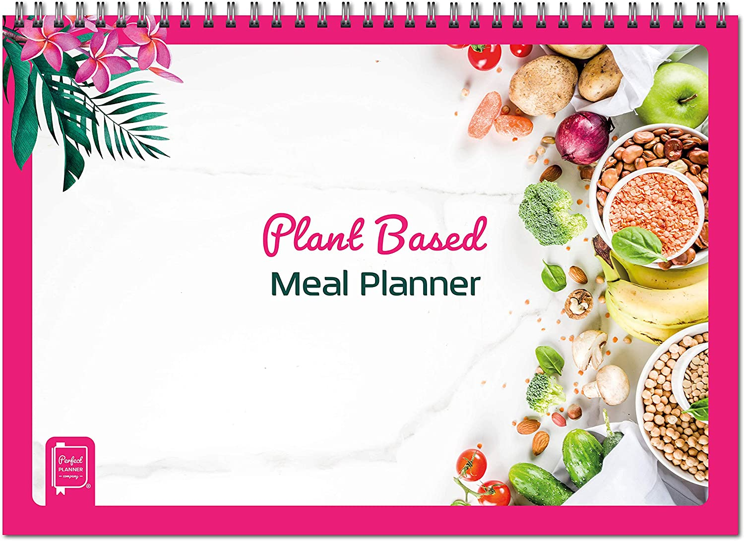 Plant Based Meal Planner. Designed for Plant Based & Vegan Diets. Plan Your Meals for The Week. Monitor Nutritious Food Consumption, Water Intake & Exercise. A4 Wirobound Pad.