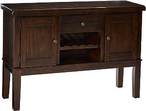 Ashley Furniture Signature Design - Haddigan Dining Room Server - Wine Rack - Brone-tone Hardware - Dark Brown Finish