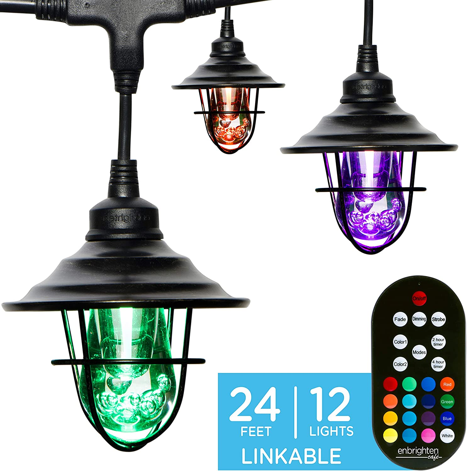 Enbrighten Seasons LED Warm White & Color Changing Café String Lights with Oil-Rubbed Bronze Lens Shade, Black, 24ft, 12 Impact Resistant Lifetime Bulbs, Wireless, Weatherproof, Indoor/Outdoor, 43383