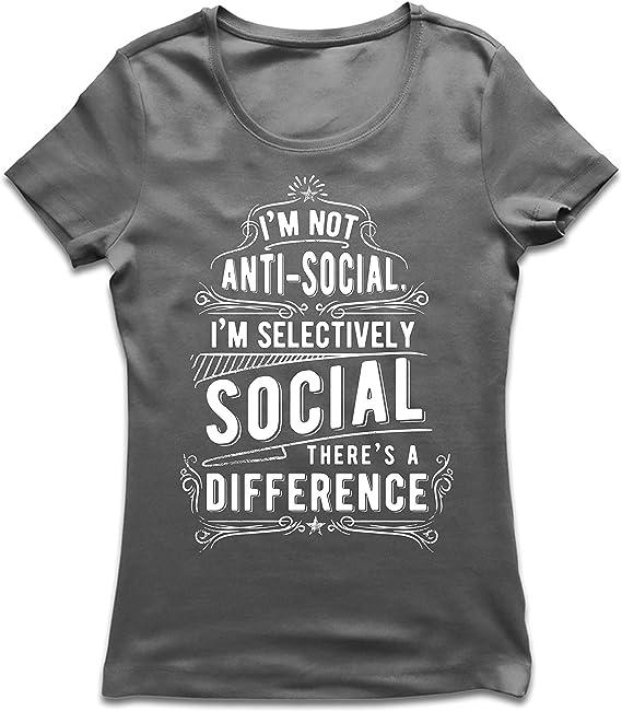 lepni.me Camiseta Mujer No Soy Antisocial Solo selectivamente Social, Gracioso Diciendo, Citas de Humor sarcástico: Amazon.es: Ropa y accesorios