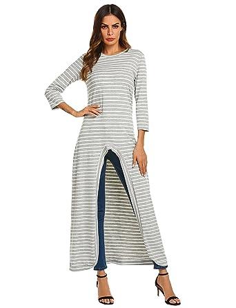 1859078bbc Qearal Women s Summer Casual Striped Irregular Hem Design Flattering Dressy  T-Shirt Blouse Tops (