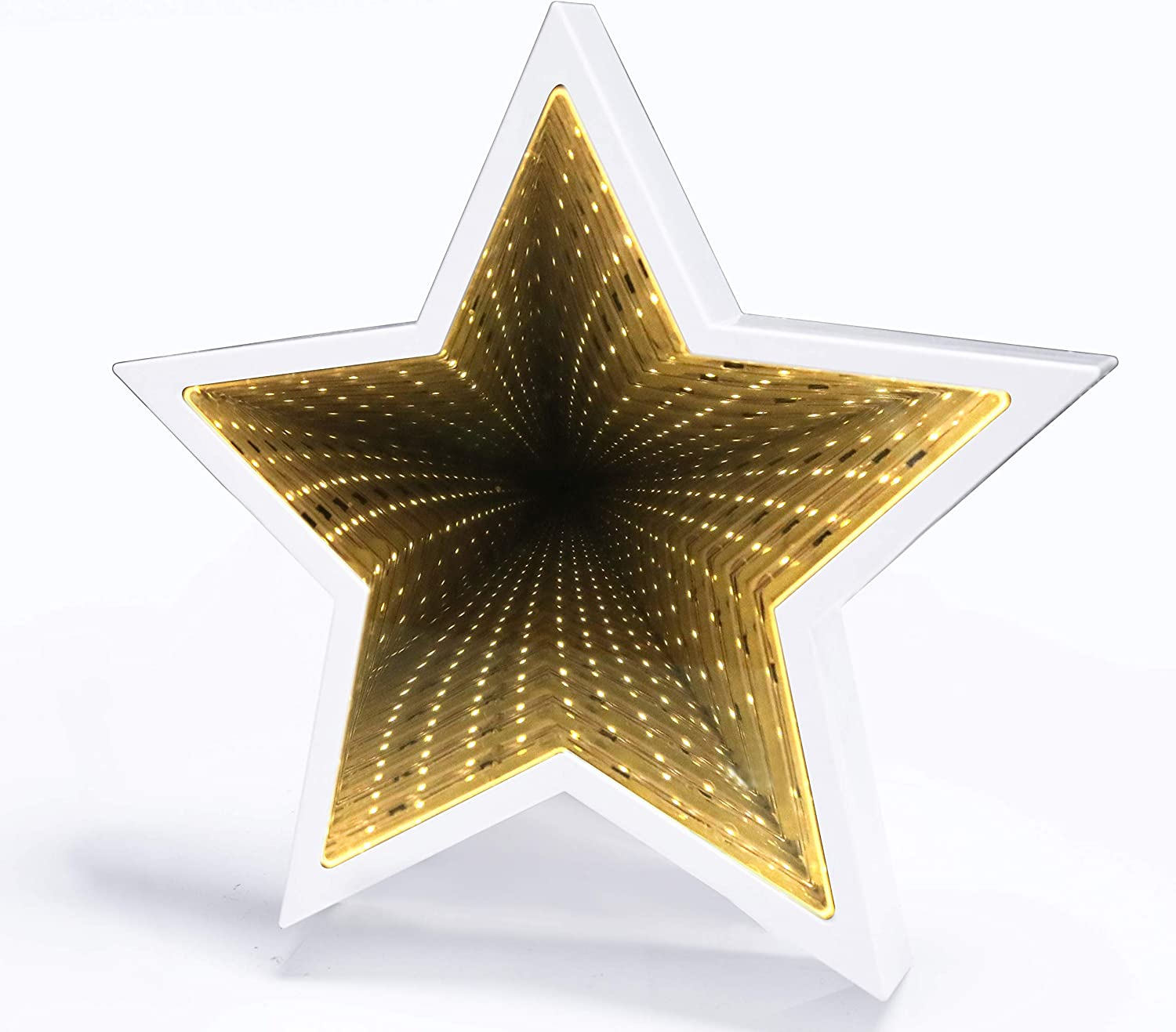 SUNTRA LED Infinity Tunnel Lamp 3D Star Shaped Plastic Sign-Lighted Marquee Night Light Wall Decoration for Kids' Room, Bedroom, Christmas, Birthday Wedding Party Decor Battery Operated (White)