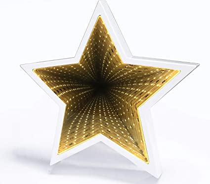 Amazon Com Suntra Led Infinity Tunnel Lamp 3d Star Shaped Plastic Sign Lighted Marquee Night Light Wall Decoration For Kids Room Bedroom Christmas Birthday Wedding Party Decor Battery Operated White Garden