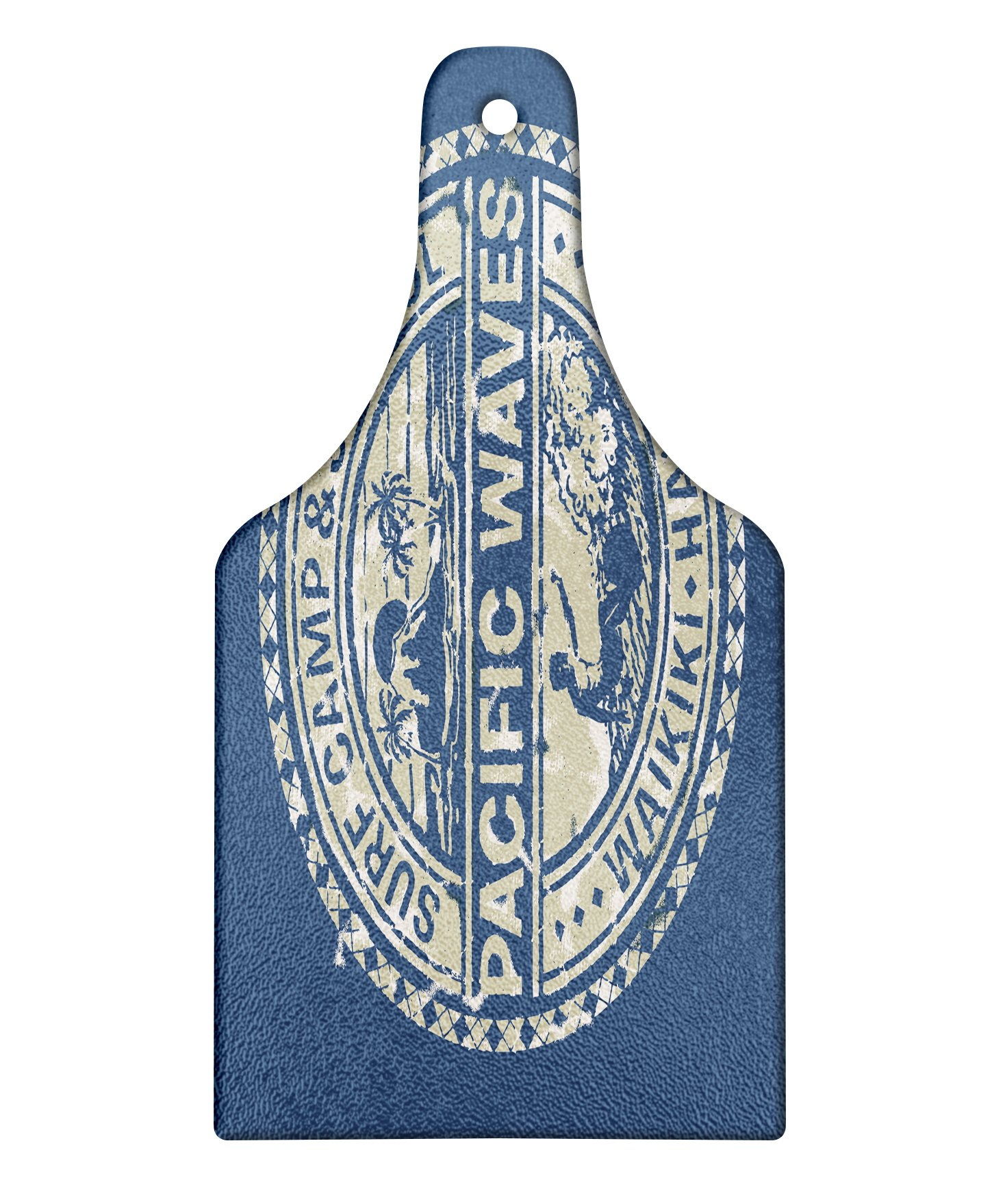 Ambesonne Modern Cutting Board, Pacific Waves Surf Camp and School Hawaii Logo Motif with Artsy Effects Design, Decorative Tempered Glass Cutting and Serving Board, Wine Bottle Shape, Khaki Slate Blue