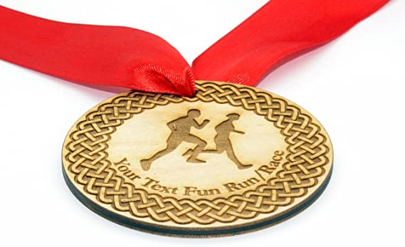 Personalizado 7 cm Diámetro Running Medalla Con Rojo Cinta: Amazon ...