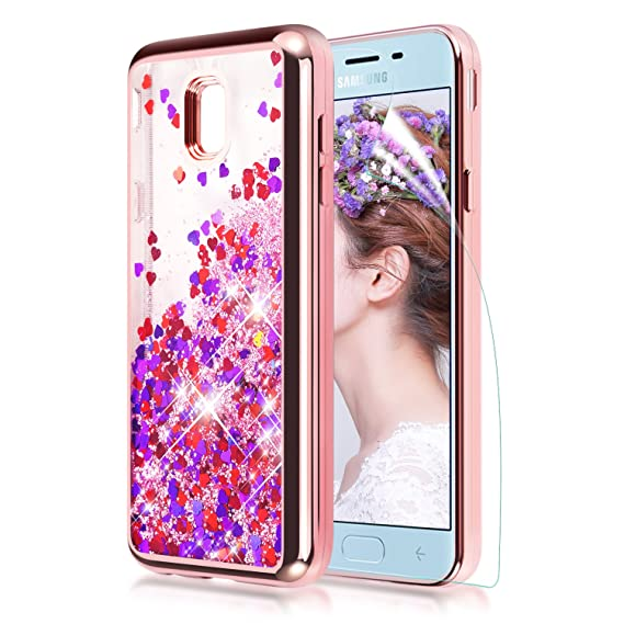 timeless design 9118a 8f53e Samsung Galaxy J3 2018 Case,Galaxy J3 Achieve Case,J3V J3 V 3rd Gen/J3  Star/J3 Express Prime 3/Amp Prime 3 Glitter Liquid Case w Screen Protector  ...