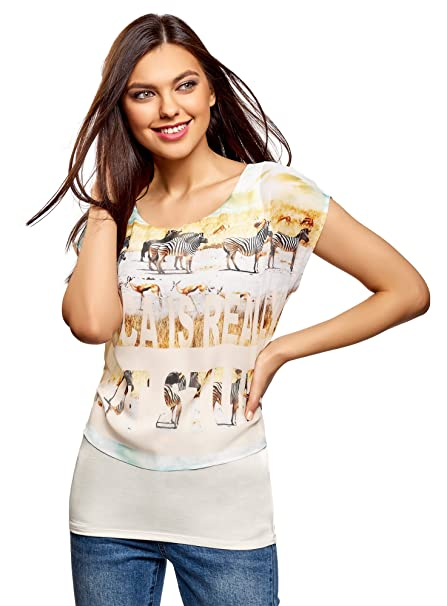 oodji Collection Mujer Blusa Combinada con Estampado, Blanco, ES 36 / XS