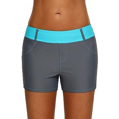 Aleumdr Womens Color Block Waistband Swim Board Shorts Plus Size S - XXXL at Women's Clothing store