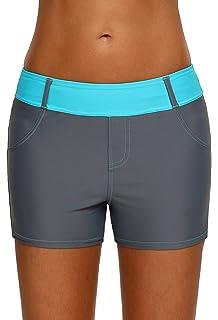 1dedfed799 Aleumdr Womens Color Block Waistband Swim Board Shorts Plus Size S - XXXL