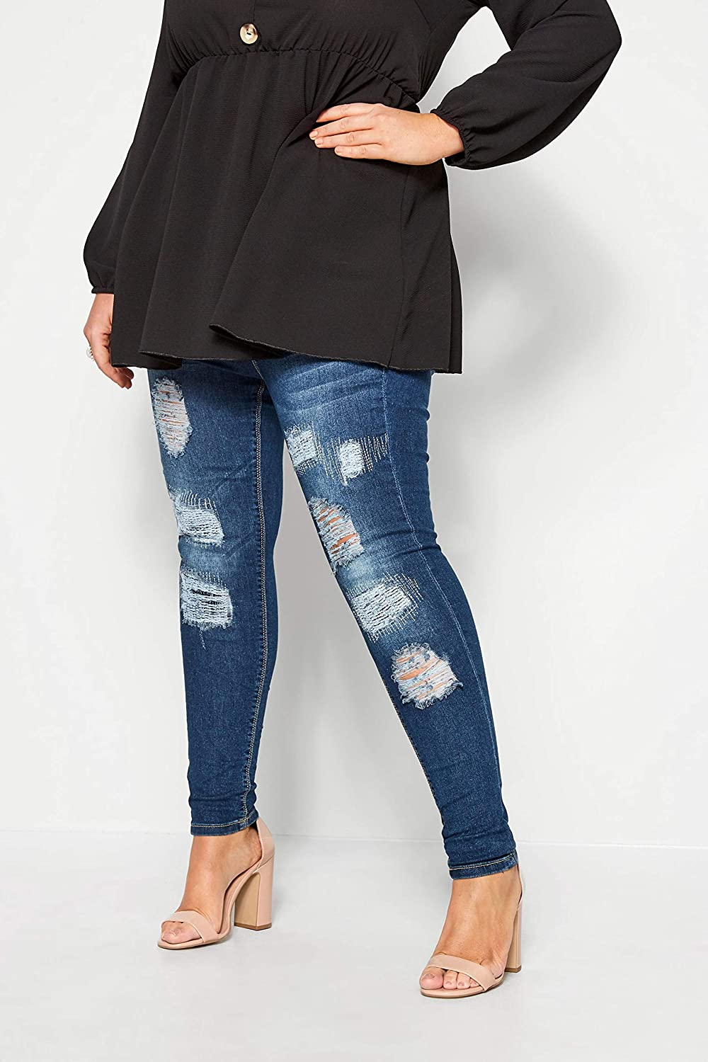 Yours Clothing Plus Size Ladies Indigo Rip and Repair Jenny Jeans