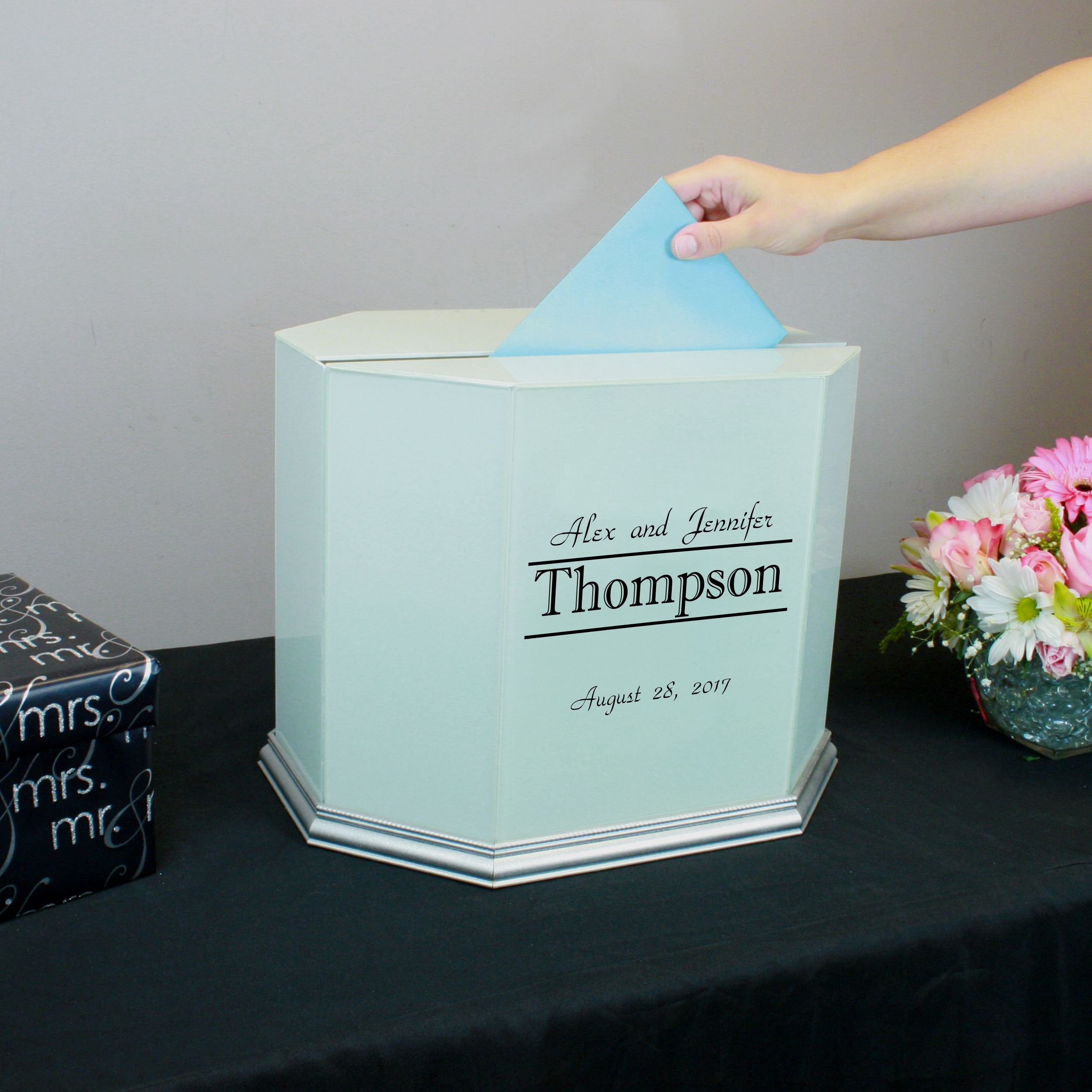 Personalized Wedding Card Box White Glass with Silver Trim by Perfect Cases