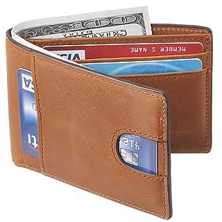 Casmonal Mens Leather Wallet Slim Front Pocket Wallet Billfold RFID Blocking(Vintage Brown Premium)