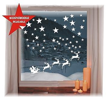 Das Label Wiederverwendbare Winterliche Fensterbilder Weiss Weihnachtsschlitten Mit Sternen Weihnachten Fensterdeko Konturgetanzt Ohne