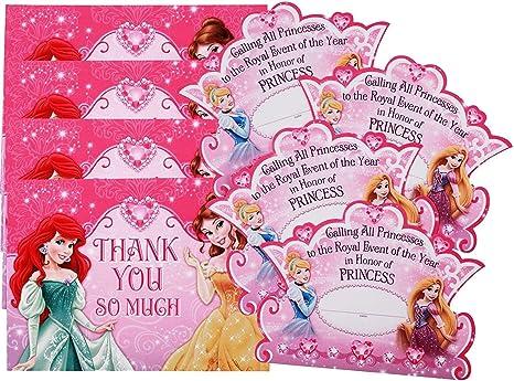 Disney Princess Birthday Invite Disney Princesses Invitation /& Thank you card Cinderella Ariel Aurora Belle Anna Elsa Snow White Party