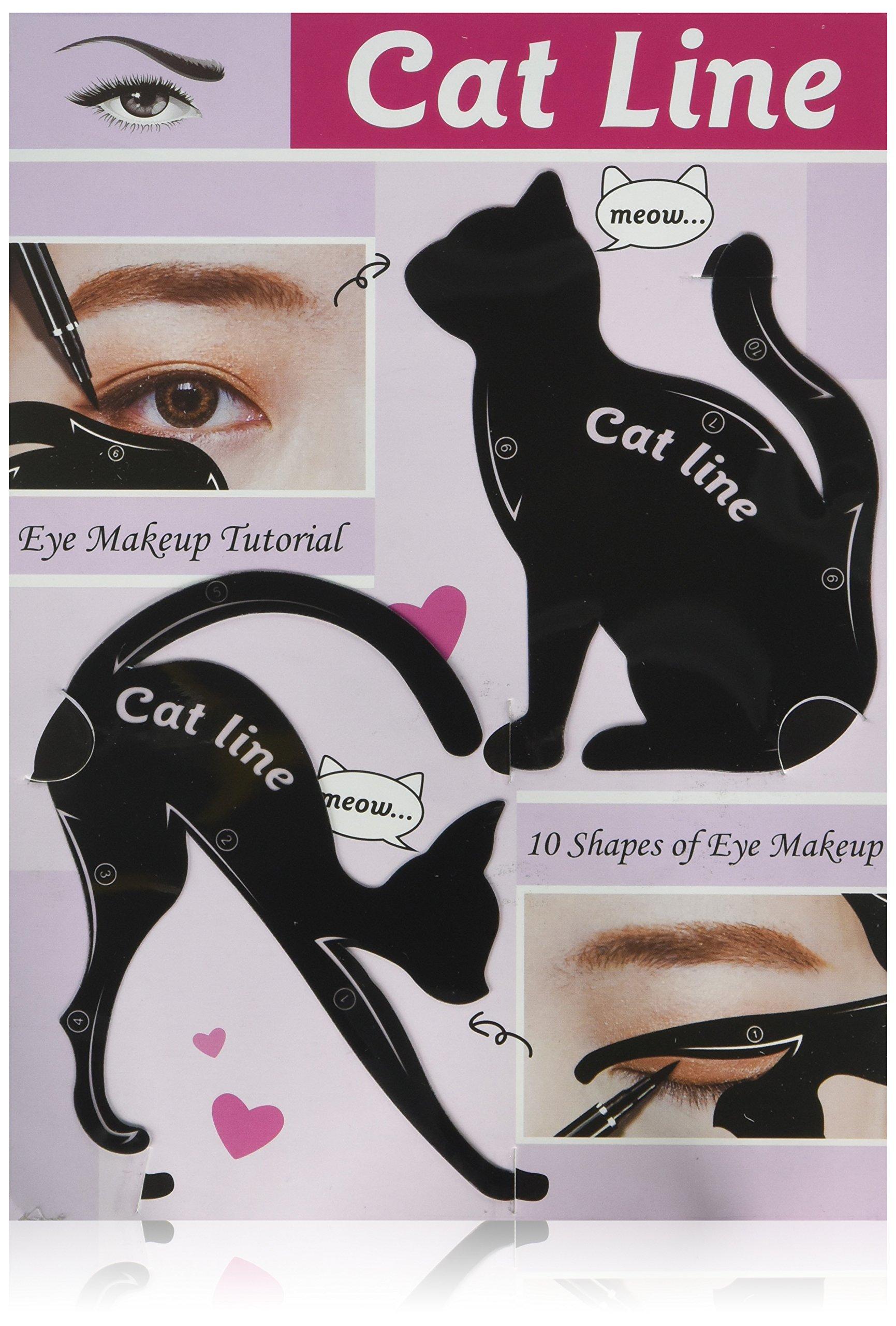 LKE 2 in 1 Cat Eyeliner Stencil,Matte PVC Material Smoky Eyeshadow Applicators Template Plate,Professional Multifunction Black Cat Shape Eye liner & Eye Shadow Guide Template (1 PACK)