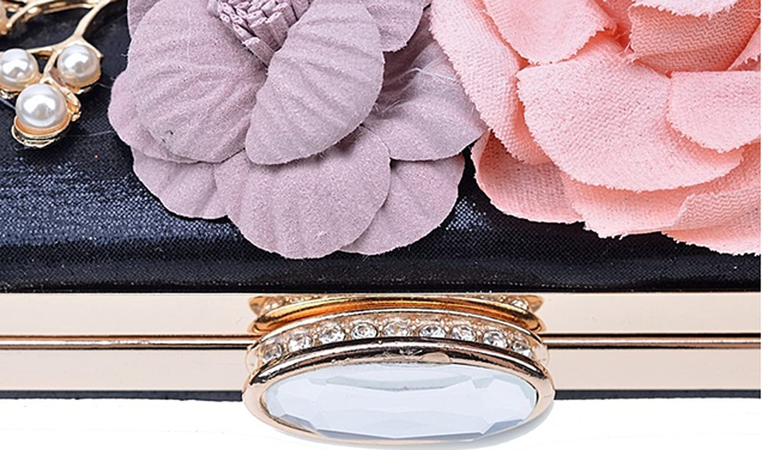 gold FANTASIEN Womens Satin Flower Pearl Beaded Evening Clutch Bags Purse Wedding Cocktail Party Handbags