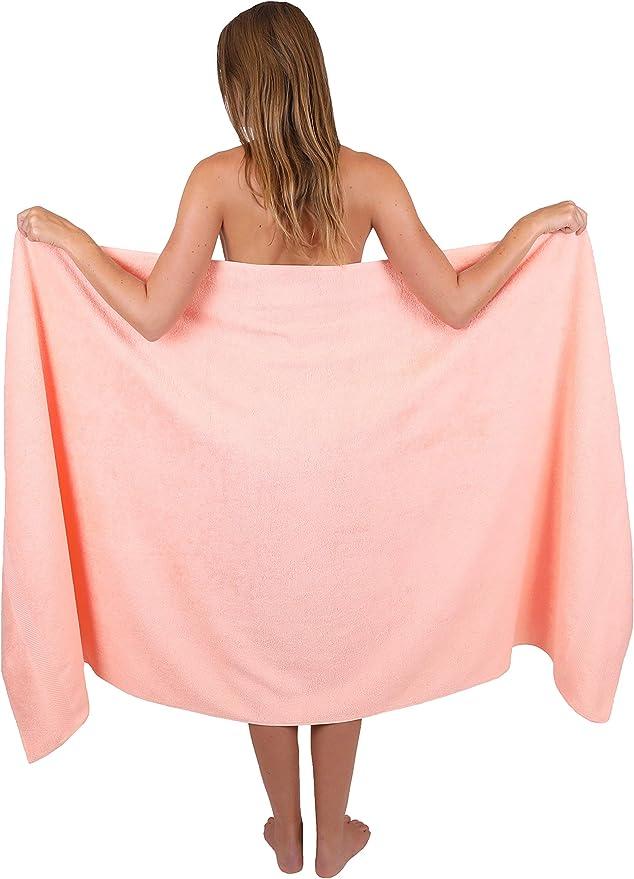Colore Albicocca 100/% Cotone Betz Set di 4 Asciugamani da Bagno 70 x 140 cm Palermo